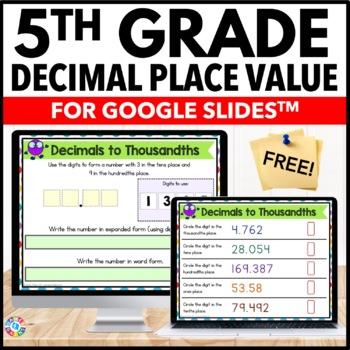 FREE 5th Grade Decimal Place Value for Google Classroom {5.NBT.3}