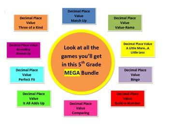 Mathtastic's 5th Grade Decimal Place Value Games MEGA  Bundle for Common Core