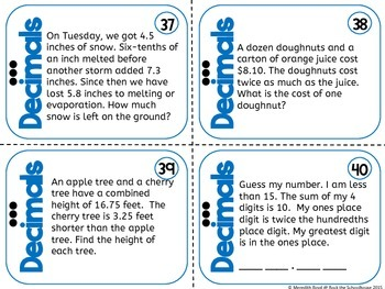 Decimal Task Cards - Math Problem of the Day ( 5th grade word problems )
