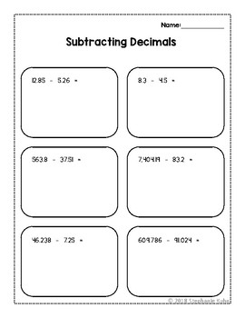 5th Grade Decimal Review Worksheets