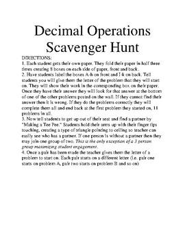 5th Grade Decimal Scavenger Hunt