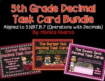 5th Grade Decimal Task Card Bundle (5.NBT.B.7)