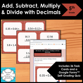 5th Grade Decimals (Add,Sub, Multiply, Divide) Task Cards