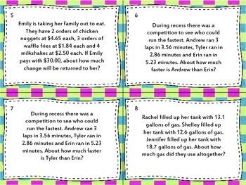 5th Grade Decimals Common Core Task Cards 5.NBT.7