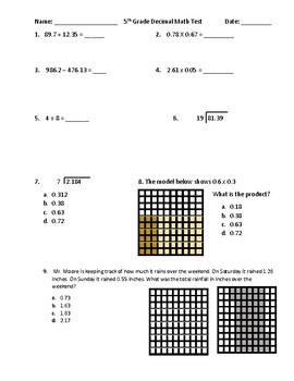 5th Grade Decimals Math Assessment