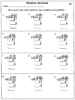 5th Gr. STAAR Decimals: Multiplying and Dividing Decimals (Guided Division Prac)