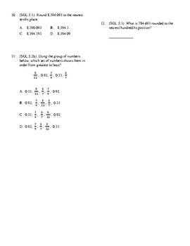 5th Grade Decimals Part 1 unit test
