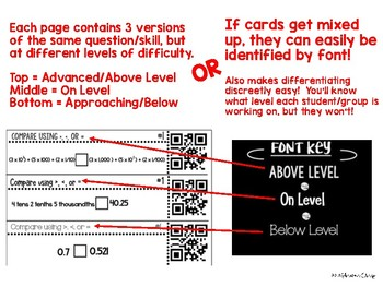 5th Grade Decimals and Place Value Differentiated QR Code Cards