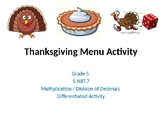 5th Grade Differentiated Thanksgiving Menus Math Activities