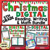 5th Grade Digital Christmas Reading, Writing, and Math Activities