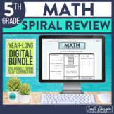 5th Grade Digital Math Spiral Review Distance Learning Sel