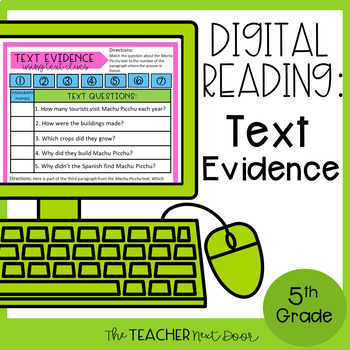 5th Grade Digital Reading Nonfiction: Text Evidence | Google Slides™