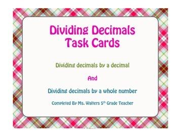 5th Grade Dividing Decimals Task Cards