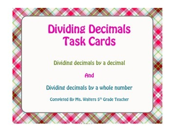 5th Grade Dividing Decimals Task Cards