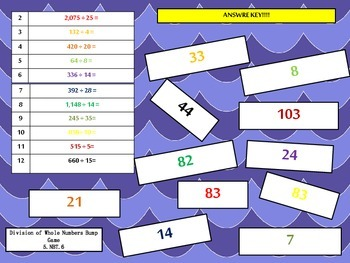 5th Grade Dividing Whole Numbers Bump Math Game {5.NBT.6} Common Core Aligned