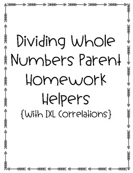 5th Grade Dividing Whole Numbers Parent Homework Helpers