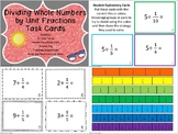 5th Grade Dividing Whole Numbers by Unit Fractions Task Card Activity