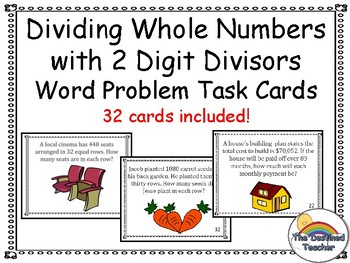 5th Grade Dividing Whole Numbers with 2 Digit Divisors Word Problems Task Cards
