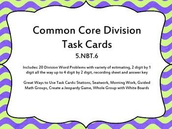 5th Grade Division Common Core Task Cards 5.NBT.6