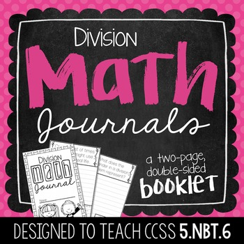 5th Grade Division Math Journal