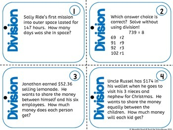 Division Task Cards - Math Problem of the Day ( 5th grade word problems )