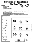 5th Grade Division of Fractions Tic Tac Toe