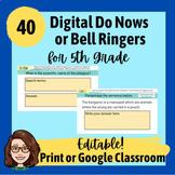 5th Grade Do Nows/ Bell Ringers for Library Skills - Editable Google Slides