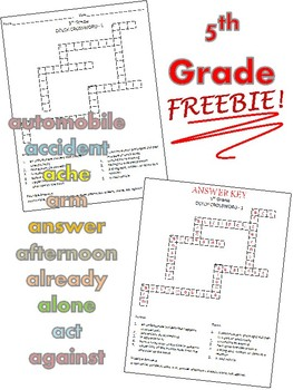 5th Grade Dolch Crossword Puzzle