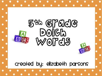5th Grade Dolch Words - Orange