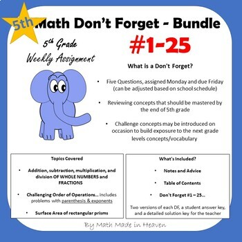 5th Math - Weekly Assignment - DON'T FORGET BUNDLE #1-25