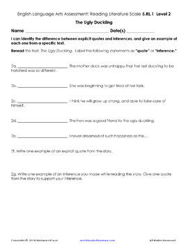 5th Grade ELA Assessment Reading Literature RL with Scales - Distance Learning