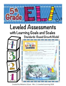 5th Grade ELA Assessment with Learning Goal 5.RL.1 and Scale