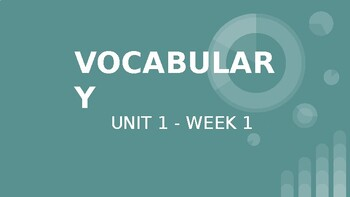 Benchmark ELA 5th Grade - Vocabulary Powerpoint for Unit 1 Week 1