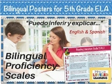 5th Grade ELA Bilingual Posters with Learning Goals and Scales