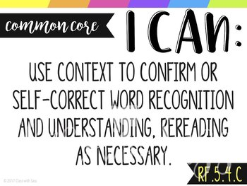 """5th Grade ELA CCSS """"I CAN"""" Objective Posters & Self-Assessment Trackers"""
