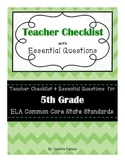 5th Grade ELA CCSS - Teacher Checklist & Essential Questions
