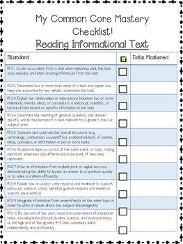 5th Grade ELA Common Core Checklist