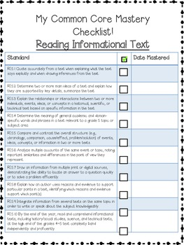 5th Grade ELA Common Core Checklist