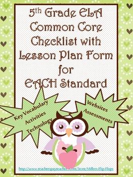 5th grade ela common core checklist lesson planning form tpt