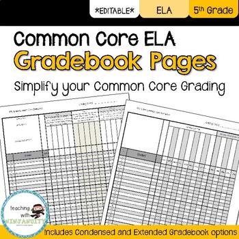 5th Grade ELA Common Core Gradebook Pages **EDITABLE**