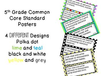 Common Core Standards Posters ELA and Math (5th grade 4 DESIGNS)
