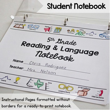 5th Grade Graphic Organizers for Common Core Reading and Language