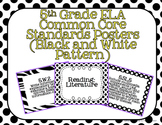 5th Grade ELA Common Core Posters- Black and White Pattern
