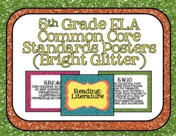 5th Grade ELA Common Core Posters- Bright Glitter