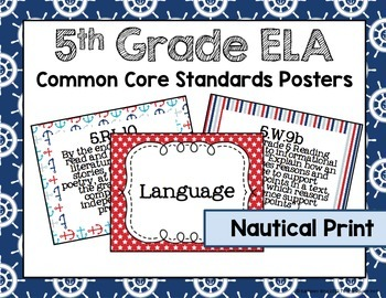 5th Grade ELA Common Core Posters- Nautical Print