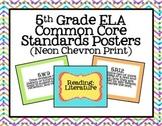 5th Grade ELA Common Core Posters- Neon Chevron Print!