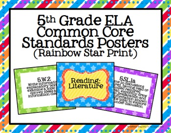 5th Grade ELA Common Core Posters- Rainbow Star