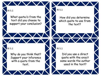 5th Grade ELA Common Core Question Stem Cards