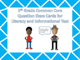 5th Grade ELA Common Core Question Stem Cards