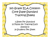 5th Grade ELA Common Core Standard Track Sheets